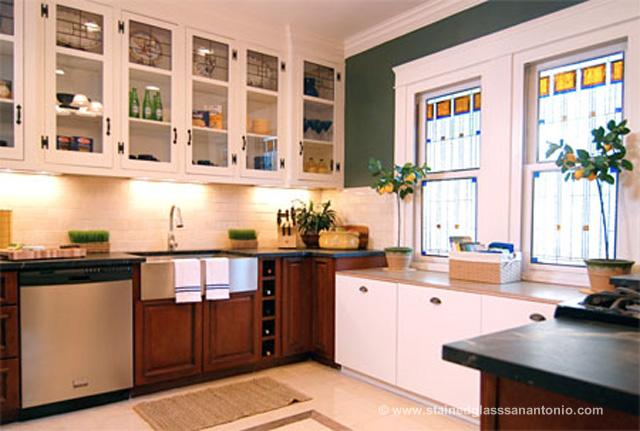 Kitchen Stained Glass Windows Cabinets San Antonio