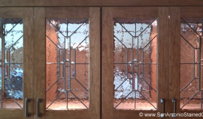 San Antonio Stained & Leaded Glass Cabinet Doors