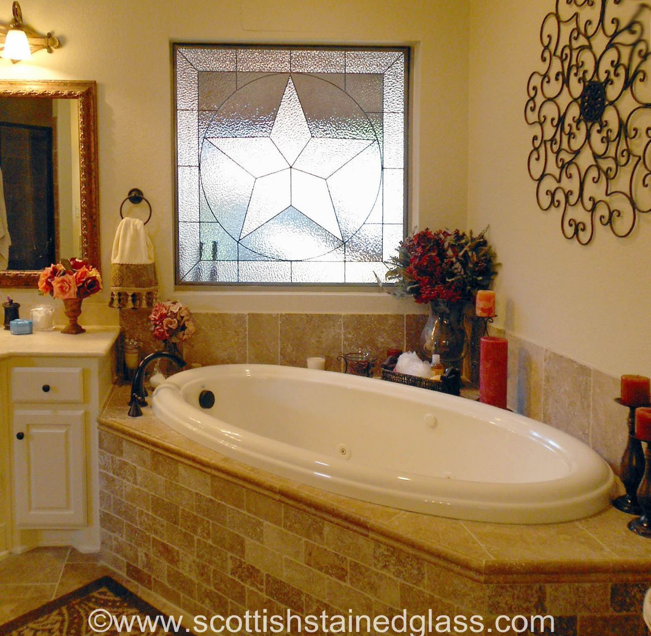 bathroom stained glass texas